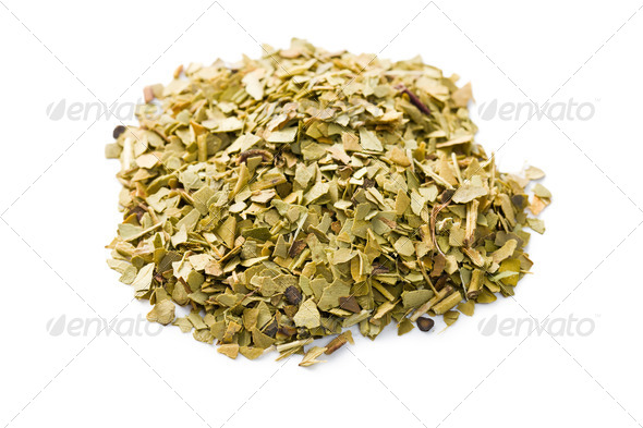 dried leaves of mate tea - Stock Photo - Images