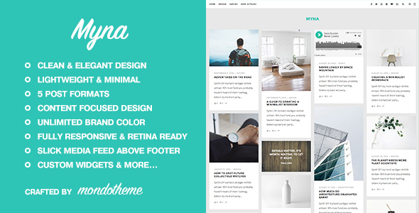 Myna – A Masonry WordPress Blog Theme