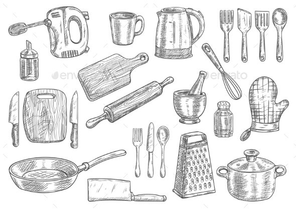 Kitchen Utensils and Appliances Isolated Sketches by VectorTradition