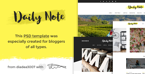 Daily Note – Creative Blog PSD Template
