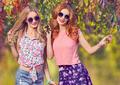Fall Fashion. Friends Girl Having Fun.Outdoor Park - PhotoDune Item for Sale