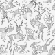 Seamless Pattern With Running Deer Flying