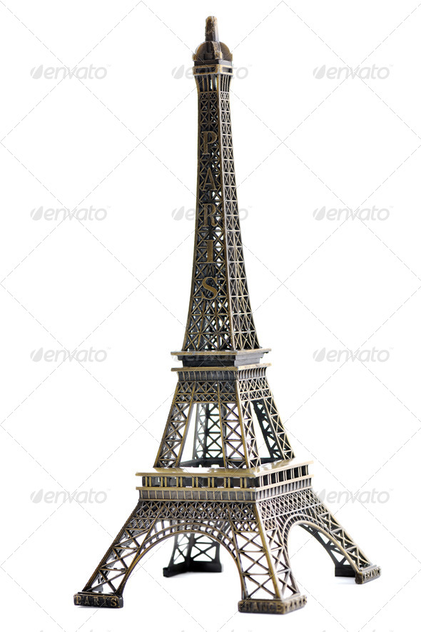 paris eiffel tower model isolated - Stock Photo - Images