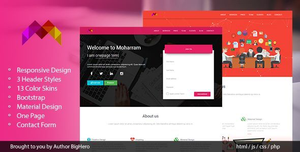 Moharram - Material Design Startup Landing Template - Marketing Corporate