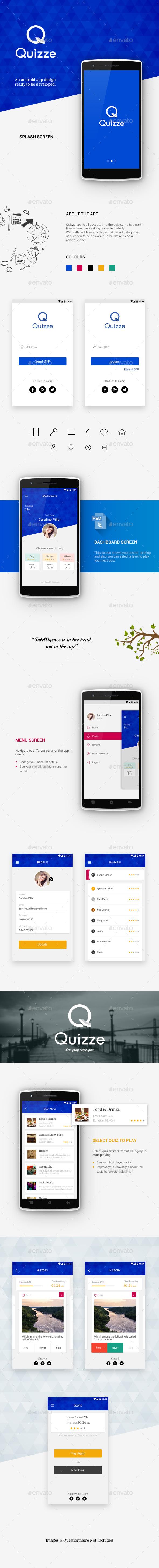Quizze App - User Interfaces Web Elements