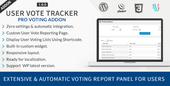 User Vote Tracker - Pro Voting Manager Addon - CodeCanyon Item for Sale