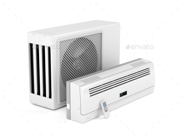 Modern split system air conditioner - Stock Photo - Images