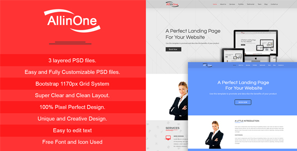 All In One - Multi Purpose One Page / Landing Page Website PSD Template - PSD Templates