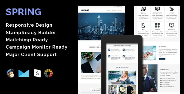 SPRING – Multipurpose Responsive Email Template + Stamp Ready Builder