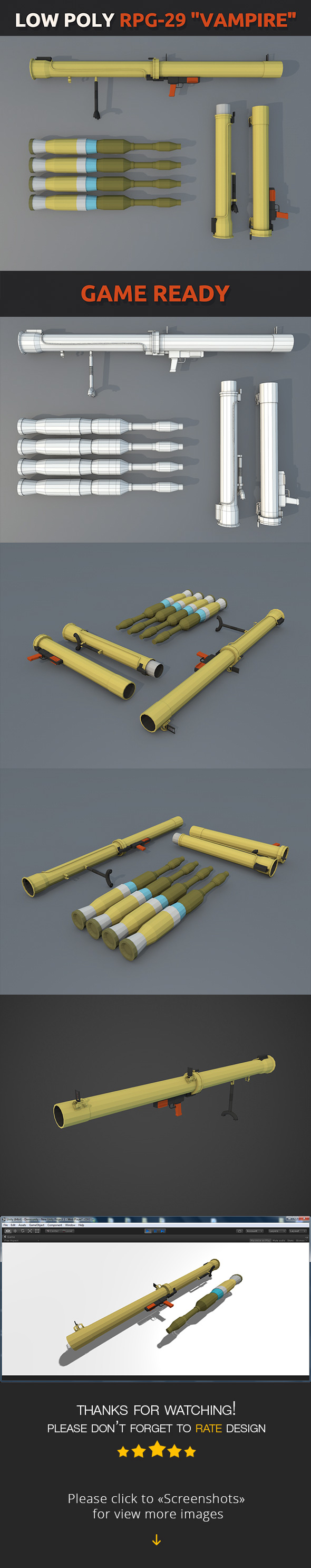 "Low Poly RPG-29 ""Vampire"" - 3DOcean Item for Sale"