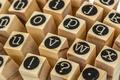 English alphabet lowercase, collage of isolated wood letterpress