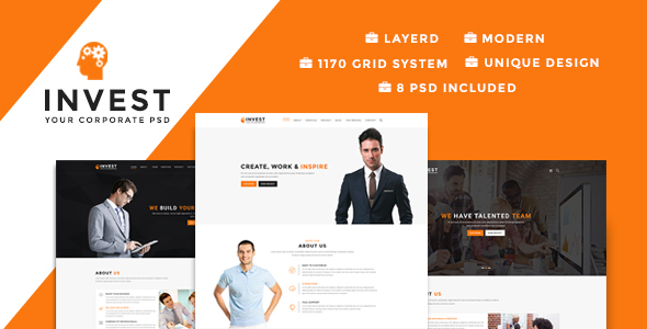 Invest - Multipurpose Business PSD Template - Business Corporate