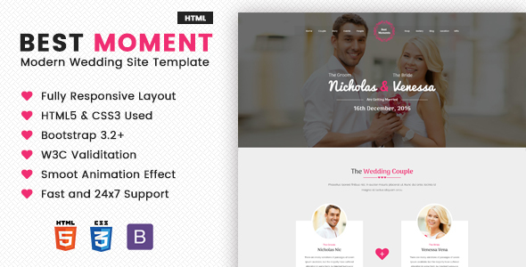 Best Moments - Mordern Wedding Site Template - Wedding Site Templates