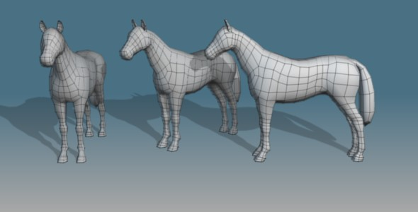 Lowpoly Horse Base Mesh - 3DOcean Item for Sale