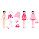 Paper Doll with Clothes in Pink - GraphicRiver Item for Sale