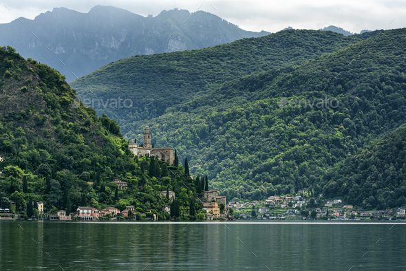 Lake of Lugano: Morcote - Stock Photo - Images