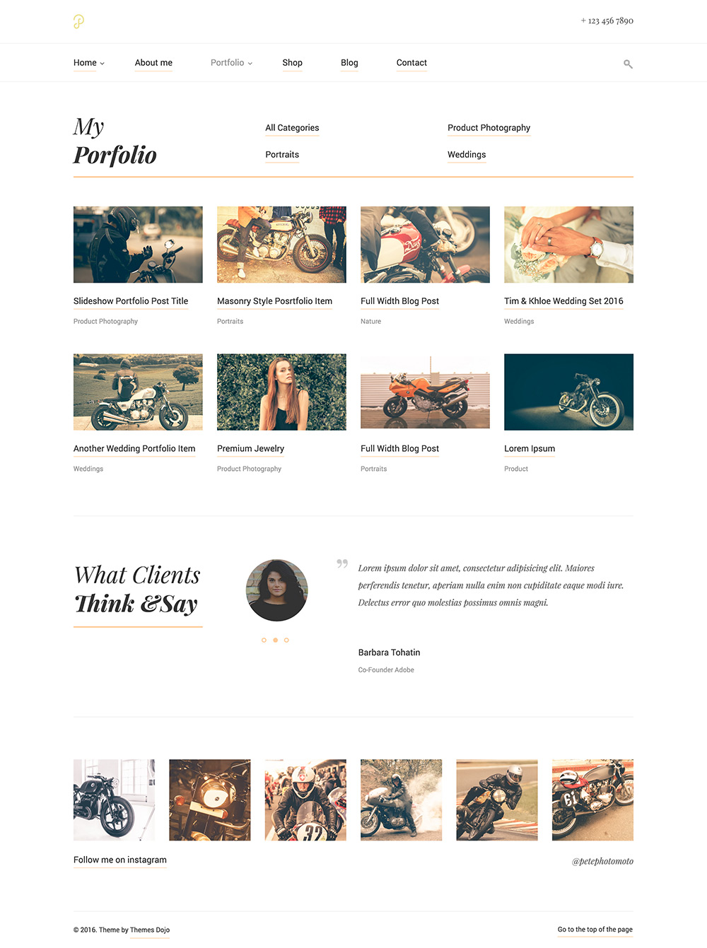 P Dojo - Photography & Portfolio Clean Minimalistic Site Template by ...