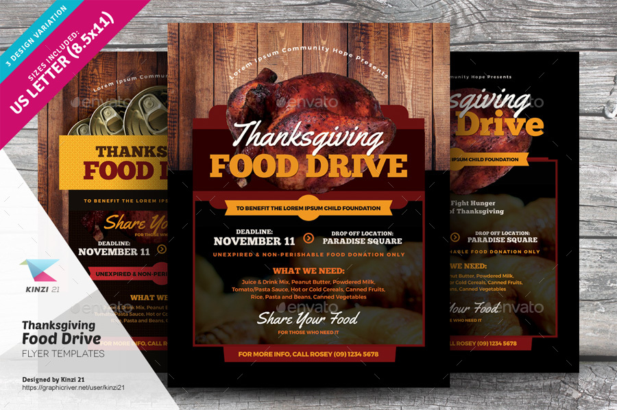 Thanksgiving Food Drive Flyer Templates by kinzi21 – Food Drive Flyer Samples