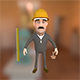 Worker with ruler cartoon character - 3DOcean Item for Sale