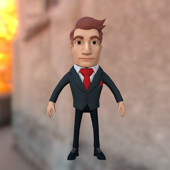 Businessman cartoon character in suit - 3DOcean Item for Sale