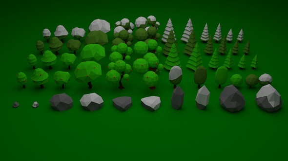 Low Poly Nature Pack 001 - 3DOcean Item for Sale