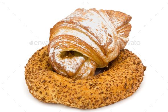 Fresh bakery, isolated on white background - Stock Photo - Images