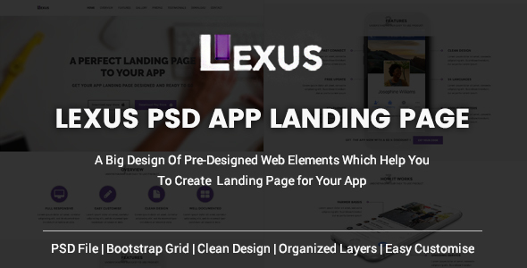 Lexus - PSD APP Landing Page - PSD Templates