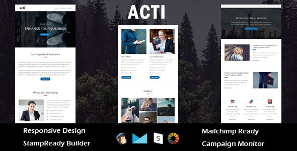 Image of Acti - Multipurpose Responsive Email Template + Stampready Builder
