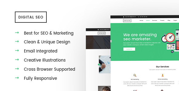 Digital SEO -  Responsive SEO and Marketing Template - Corporate Site Templates