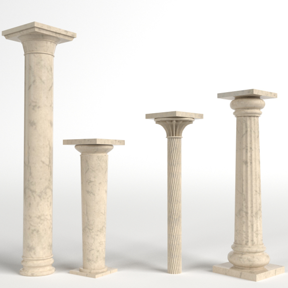 Columns set, collection (short, tall, fluted, with a simple capital) - 3DOcean Item for Sale