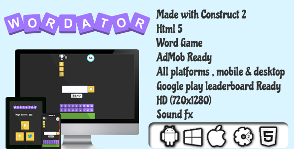 Wordator - HTML5 Word Game - AdMob Ready - CodeCanyon Item for Sale