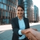 Pretty Businesswoman Comes And Make Handshake With You. - VideoHive Item for Sale