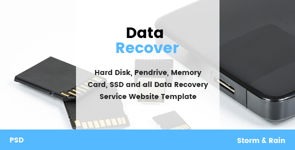 Data Recover – Data Recovery Service Website PSD Template