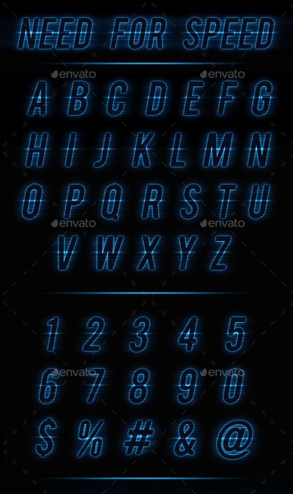 Neon Autosport Alphabet - Decorative Graphics