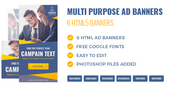 HTML5 Multi Purpose Banners - 6 Sizes - CodeCanyon Item for Sale