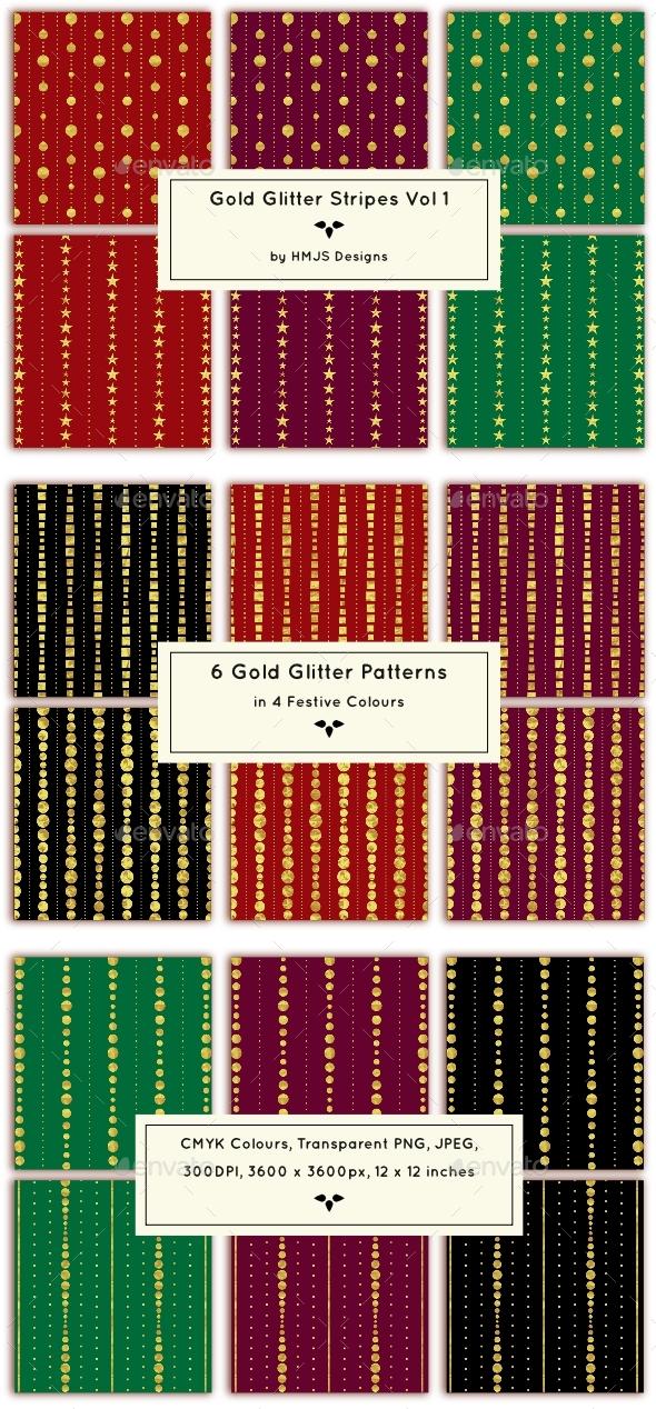 Gold Glitter Stripes Vol 1 - Patterns Backgrounds