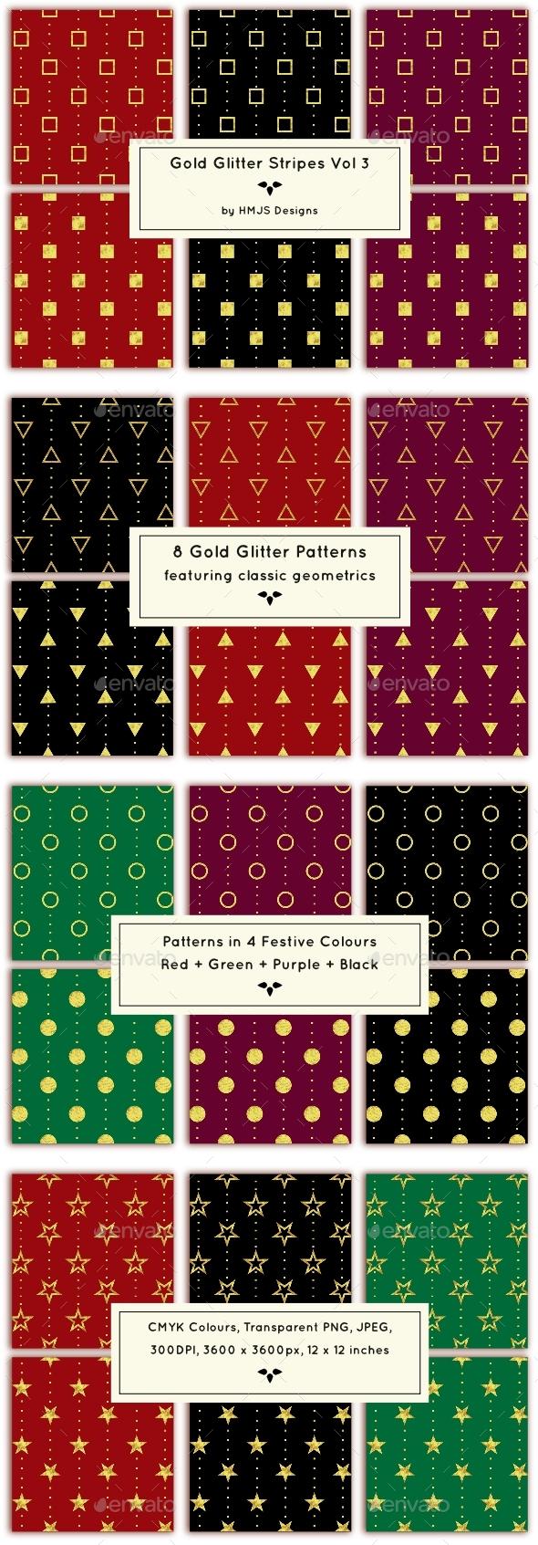 Gold Glitter Stripes Vol 3 - Patterns Backgrounds
