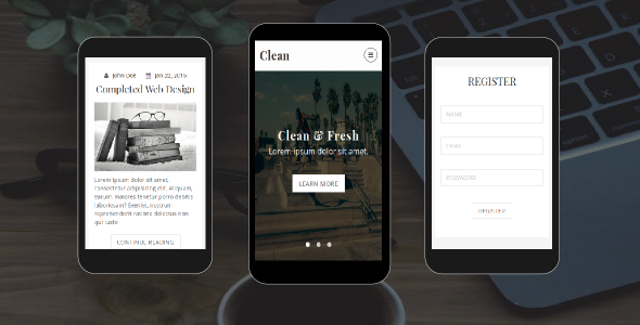 Clean - Personal Blog Mobile Template - Mobile Site Templates