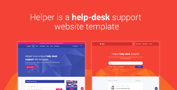 Helper - Material Design Help Desk, Support, Forum, Knowledge-Base Responsive Site Template