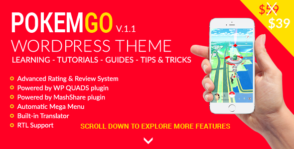 Pokemgo – WordPress Theme for Pokemon Go tutorials, learning and guides