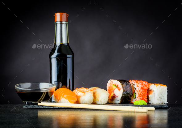 Sushi Rolls with Soy Sauce - Stock Photo - Images