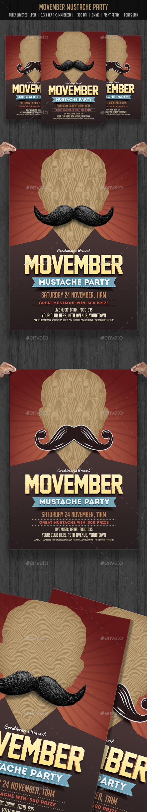 Movember Mustache Flyer - Events Flyers