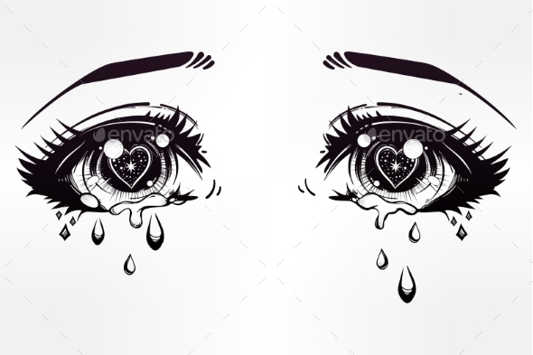 Crying Eyes In Anime Or Manga Style