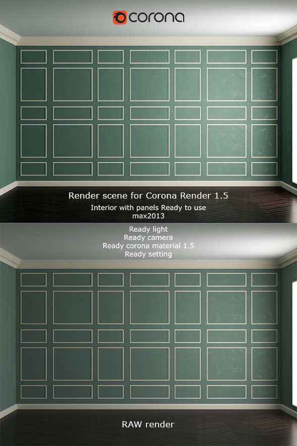 Interior with panels. Corona render 1.5 - 3DOcean Item for Sale