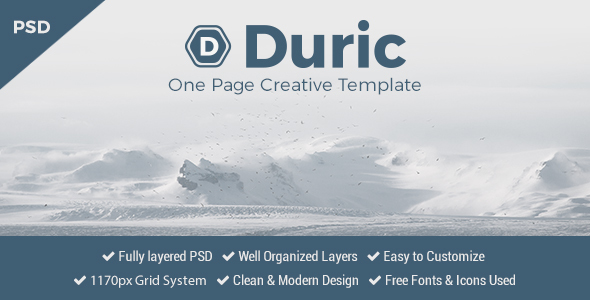 Duric – One Page PSD Template
