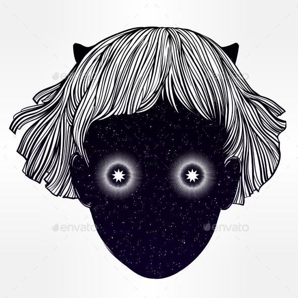Demon Girl Portrait Vector Art.