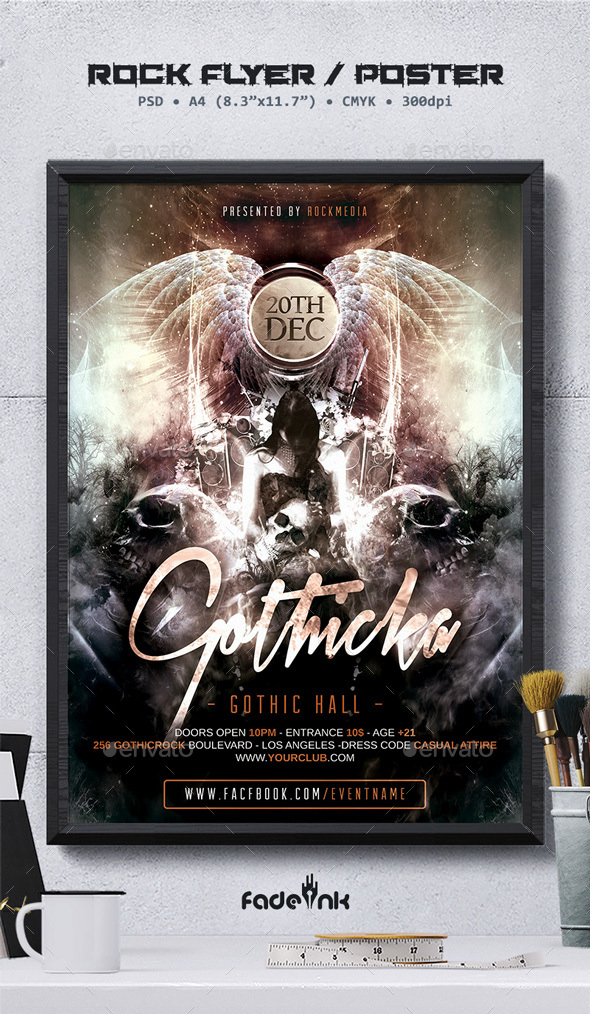 Gothic Rock Flyer / Poster Template - Clubs & Parties Events