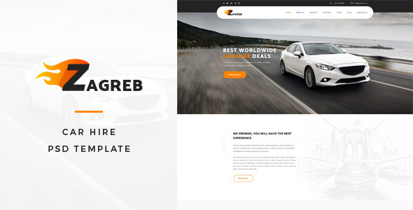 Zagreb : Car Hire PSD Template - Business Corporate