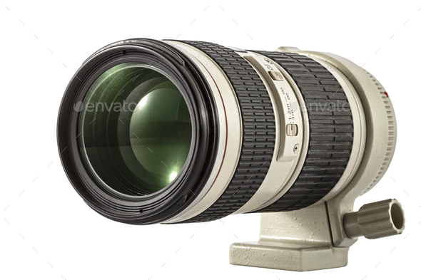 Zoom camera lens, isolated on white background - Stock Photo - Images