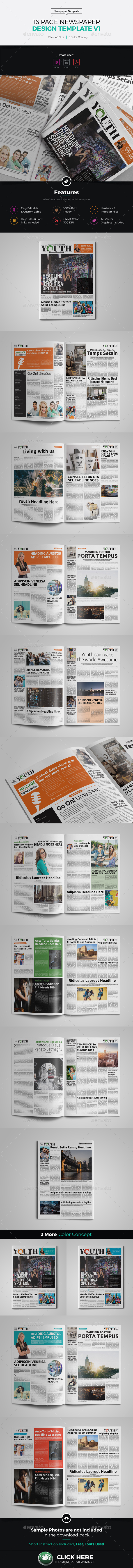 16 Page Newspaper InDesign v1 - Newsletters Print Templates